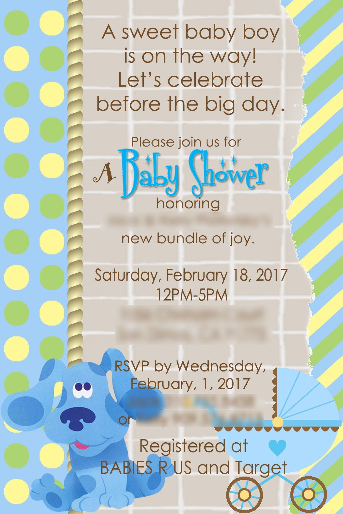 Blues Clues Baby Shower Invite. | Lil Jr's Corner In 2019 | Baby - Blue's Clues Invitations Free Printable