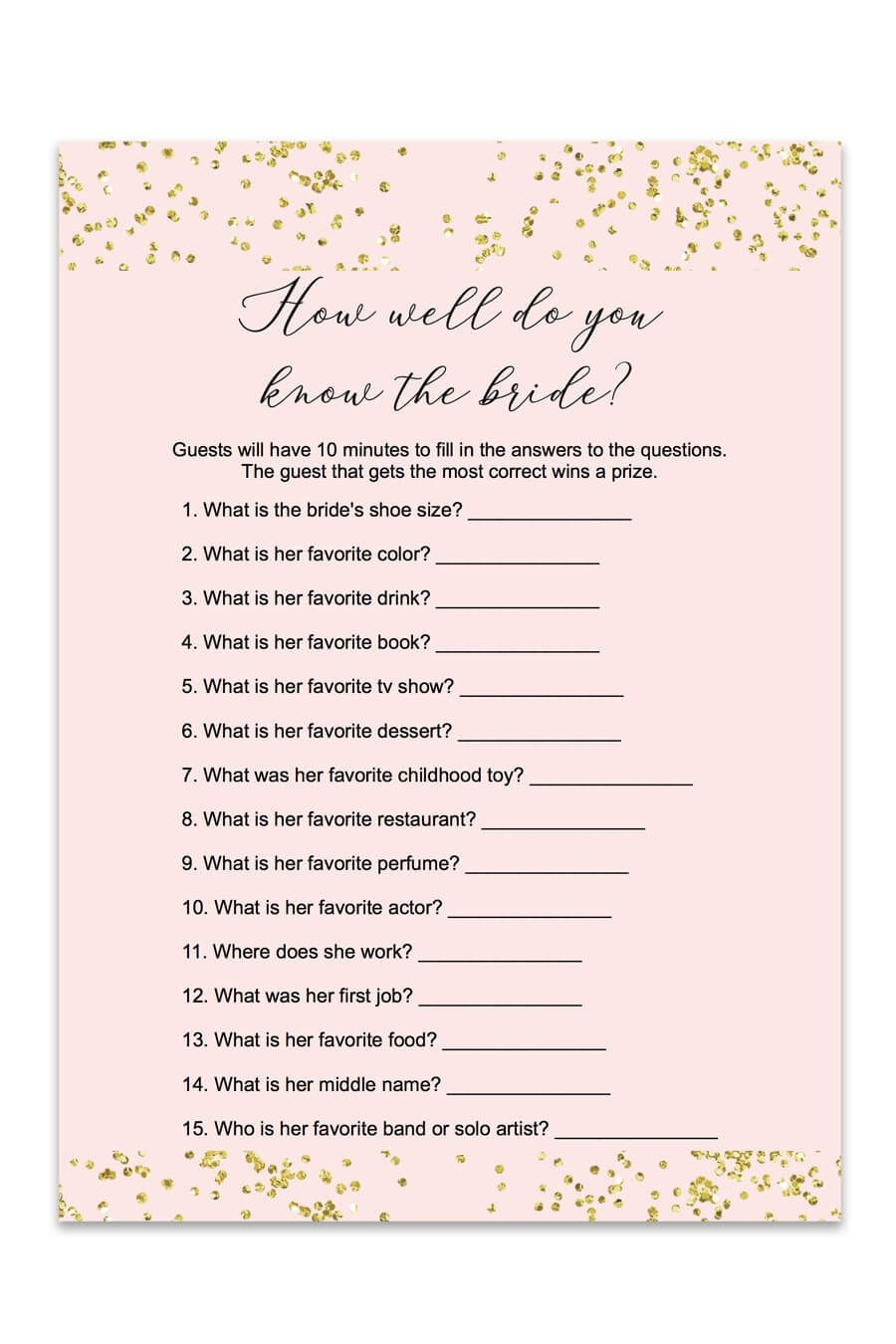 Blush And Confetti How Well Do You Know The Bride Game | Love<3 - How Well Do You Know The Bride Free Printable