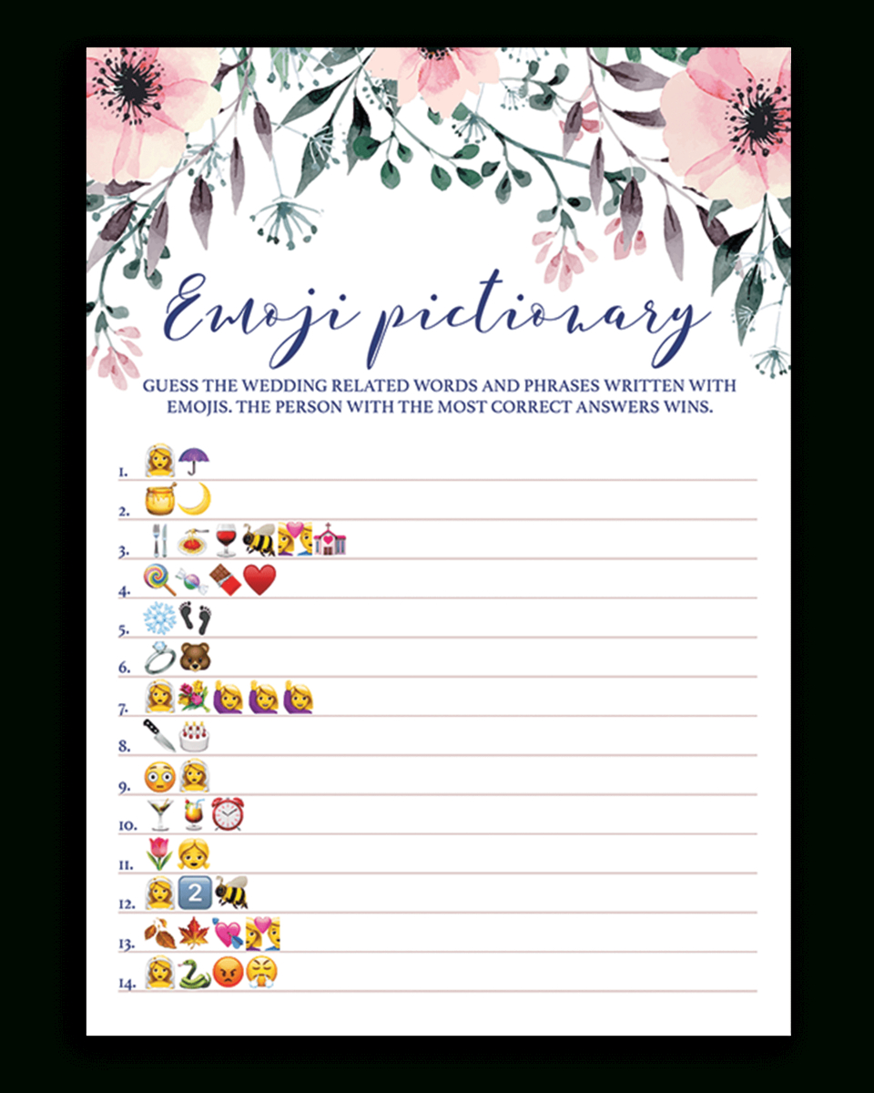 Blush Floral Bridal Shower Emoji Pictionary Game Printable - Spg1 - Wedding Emoji Pictionary Free Printable