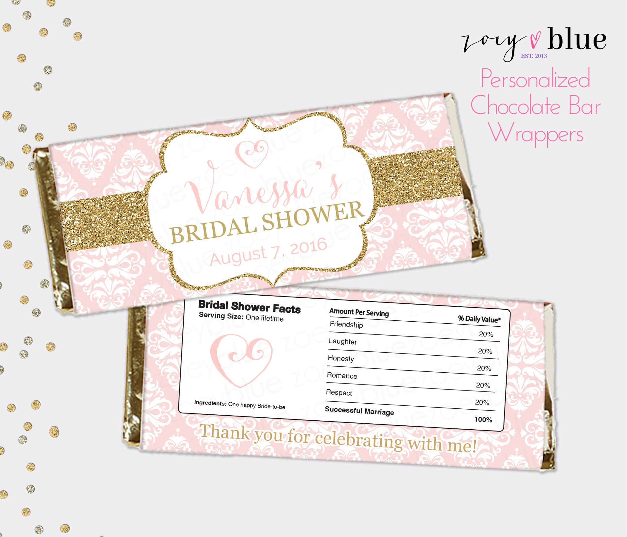 Blush Pink Gold Bridal Shower Chocolate Bar Wrapper | Etsy - Free Printable Candy Bar Wrappers For Bridal Shower