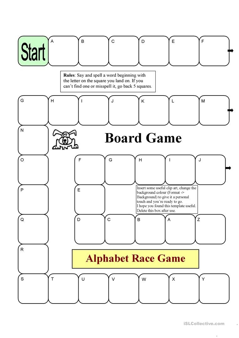 Board Game - Alphabet Race Worksheet - Free Esl Printable Worksheets - Free Printable Alphabet Games