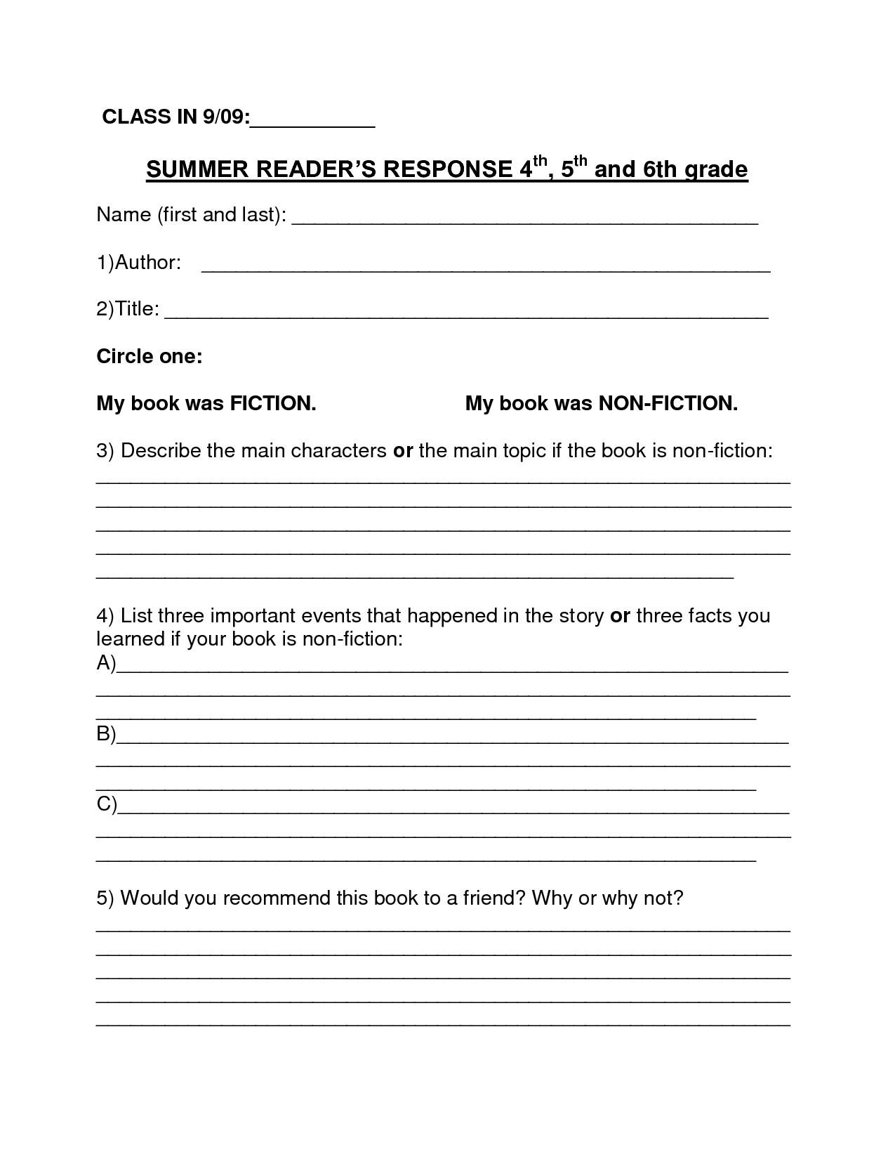 Book Report Template | Summer Book Report 4Th -6Th Grade - Download - Free Printable Summarizing Worksheets 4Th Grade