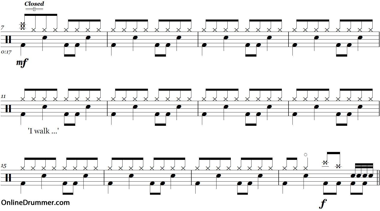 Boulevard Of Broken Dreams - Green Day - Drum Sheet Music   La - Free Printable Drum Sheet Music