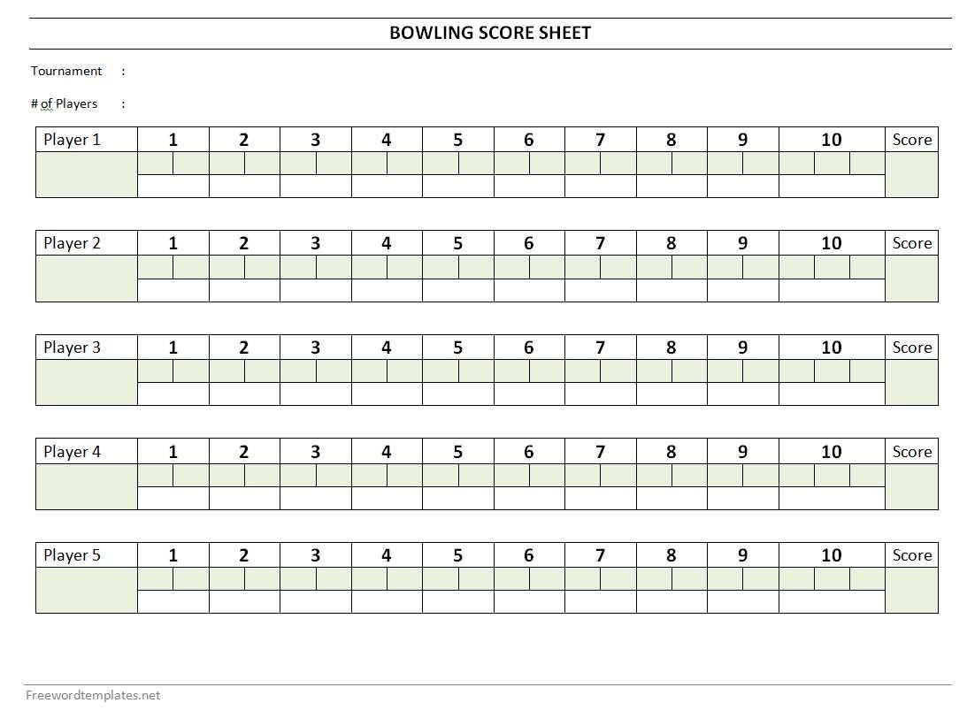 Bowling Score Sheet - Free Printable Bowling Score Sheets