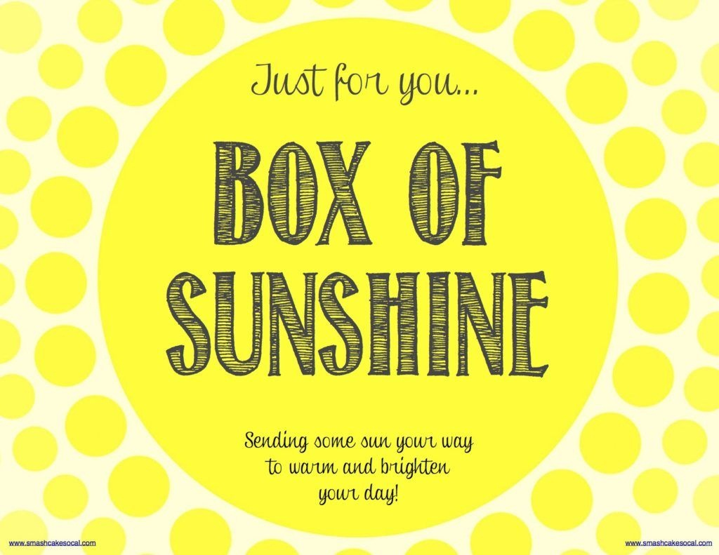 Box Of Sunshine & Free Digital Download | School | Box Of Sunshine - Box Of Sunshine Free Printable