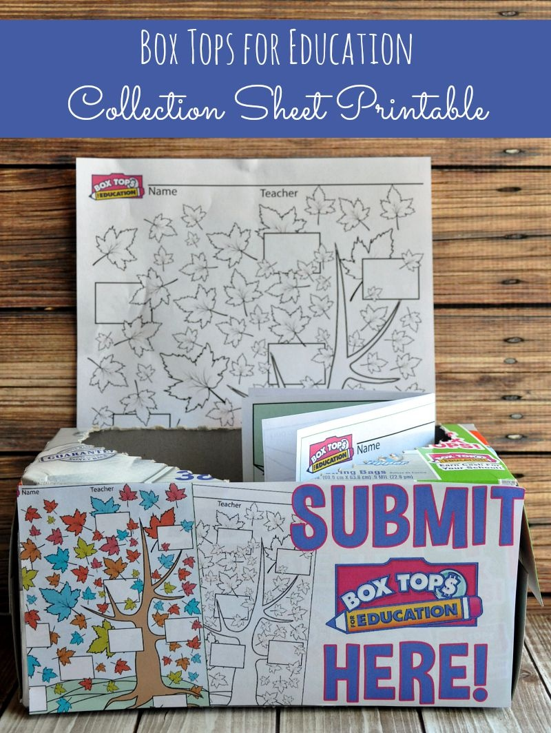 Box Tops For Education Collection Sheet - Happy Mothering - Free Printable Box Tops For Education