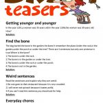 Brain Teasers(With Answer Key) Worksheet   Free Esl Printable   Free Printable Brain Teasers