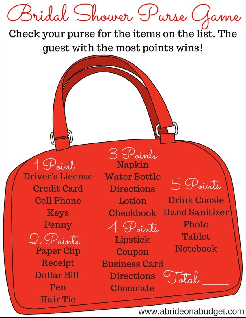Bridal Shower What's In Your Purse Game (Plus A Free Printable) | A - Free Printable Bridal Shower Games What's In Your Purse