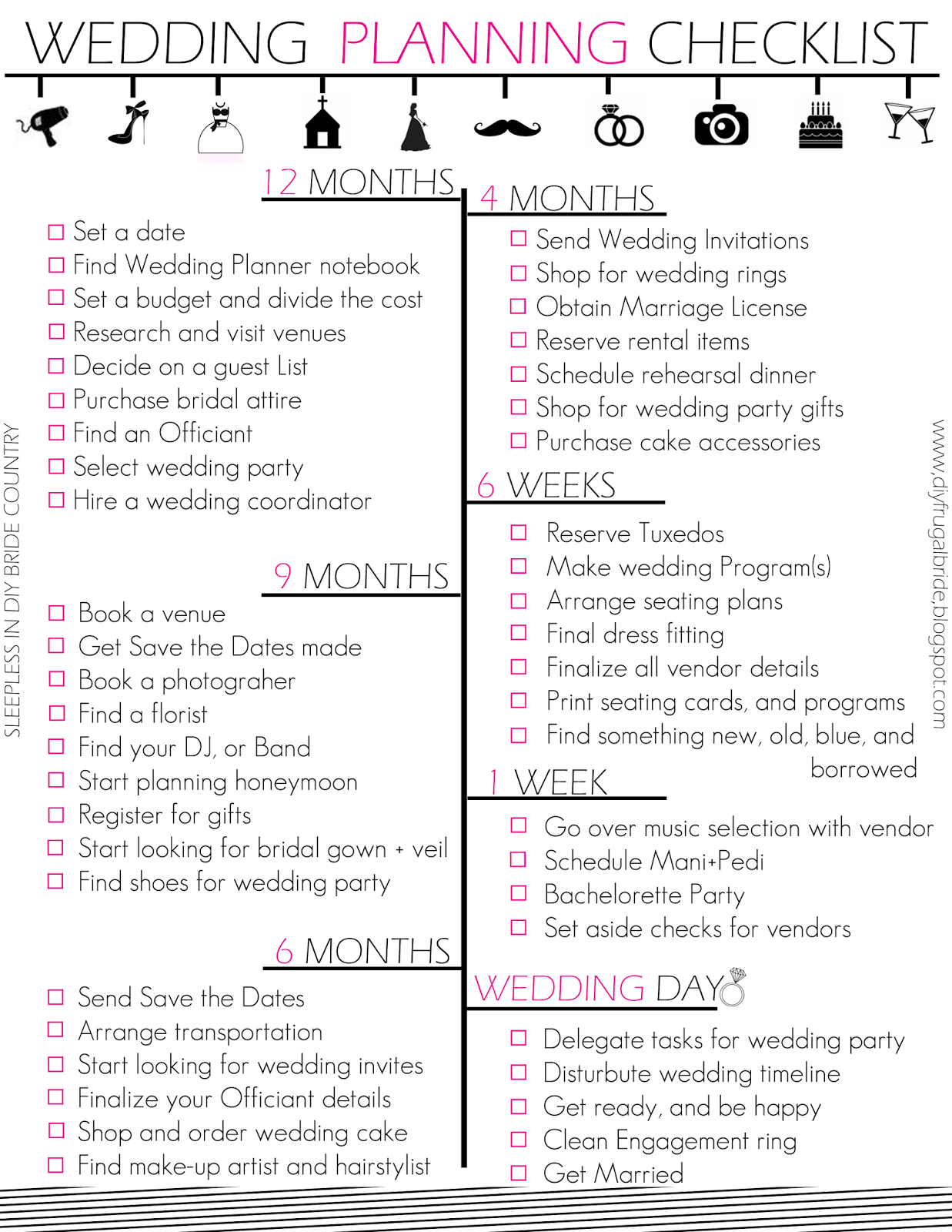 Budget Bride Wedding Checklist And Budget Tips | Projects To Try In - Free Printable Wedding Checklist