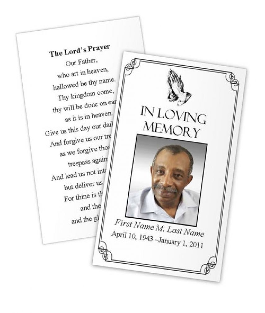 Business Card Photoshop Template Funeral Prayer Card Template Free - Free Printable Funeral Prayer Card Template
