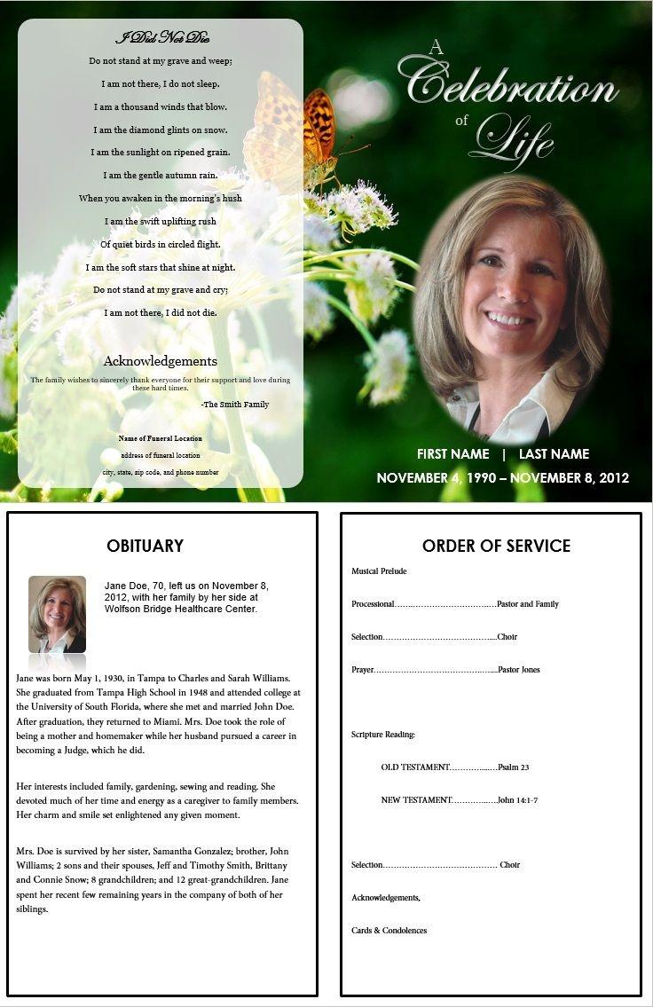 Butterfly Memorial Program | Memorials | Funeral Memorial, Memorial - Free Printable Memorial Card Template