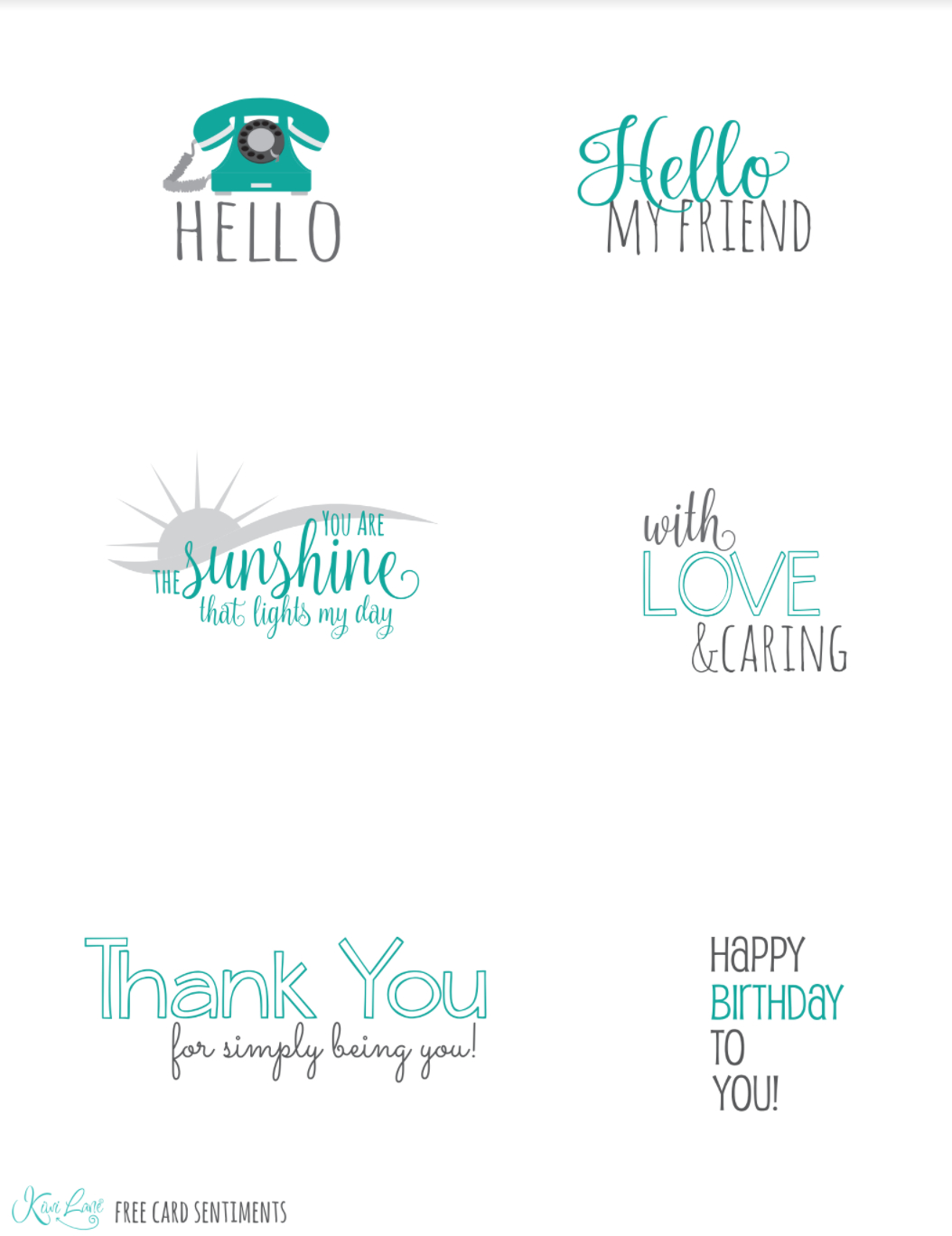 Buy 3 Get 1 Free Kwik Card Kits | Free Printables | Kiwi Lane - Free Printable Greeting Card Sentiments