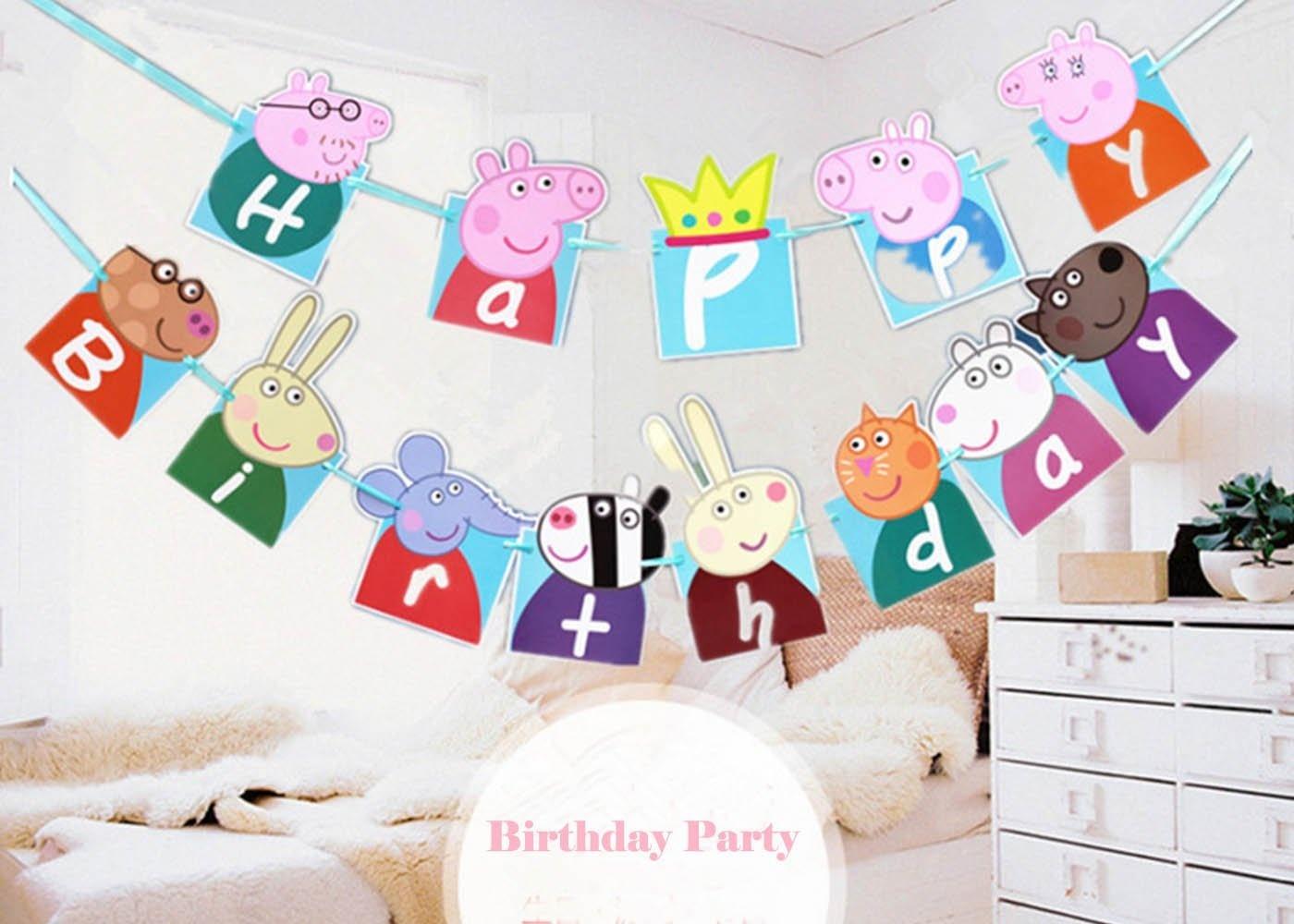 Buy Efivs Arts Cute Peppa Pig Theme Party Decorative Happy Birthday - Peppa Pig Birthday Banner Printable Free