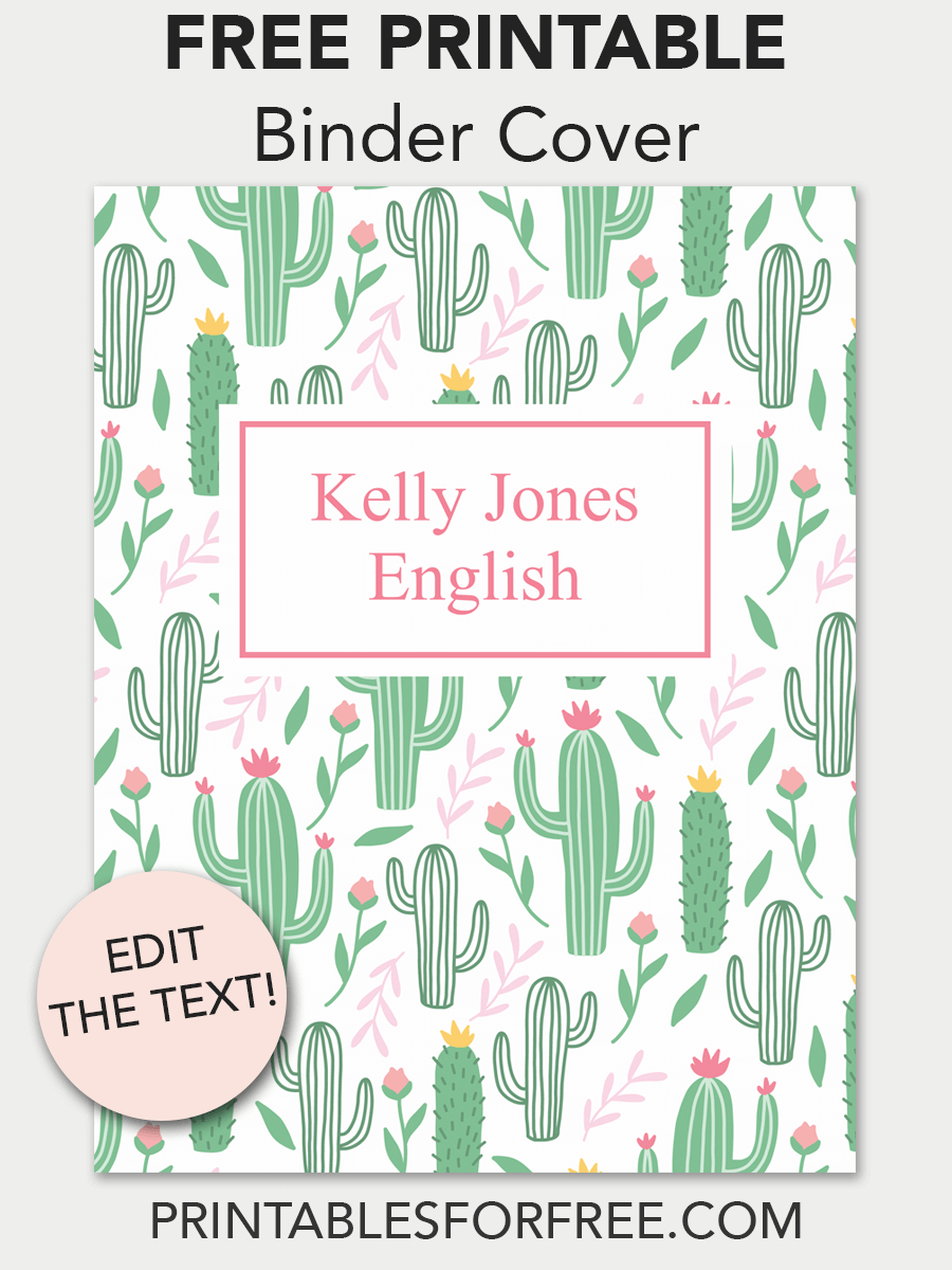 Cactus Printable Binder Cover | School | Printable Binder Covers - Free Printable School Binder Covers