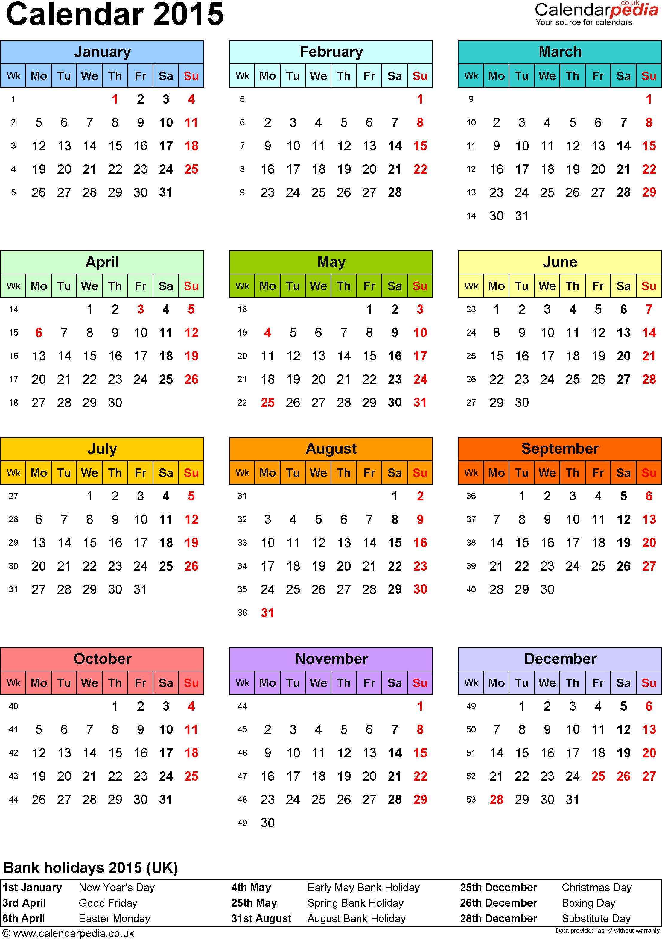 Calendar 2015 (Uk) - 16 Free Printable Pdf Templates - Free Printable Diary 2015