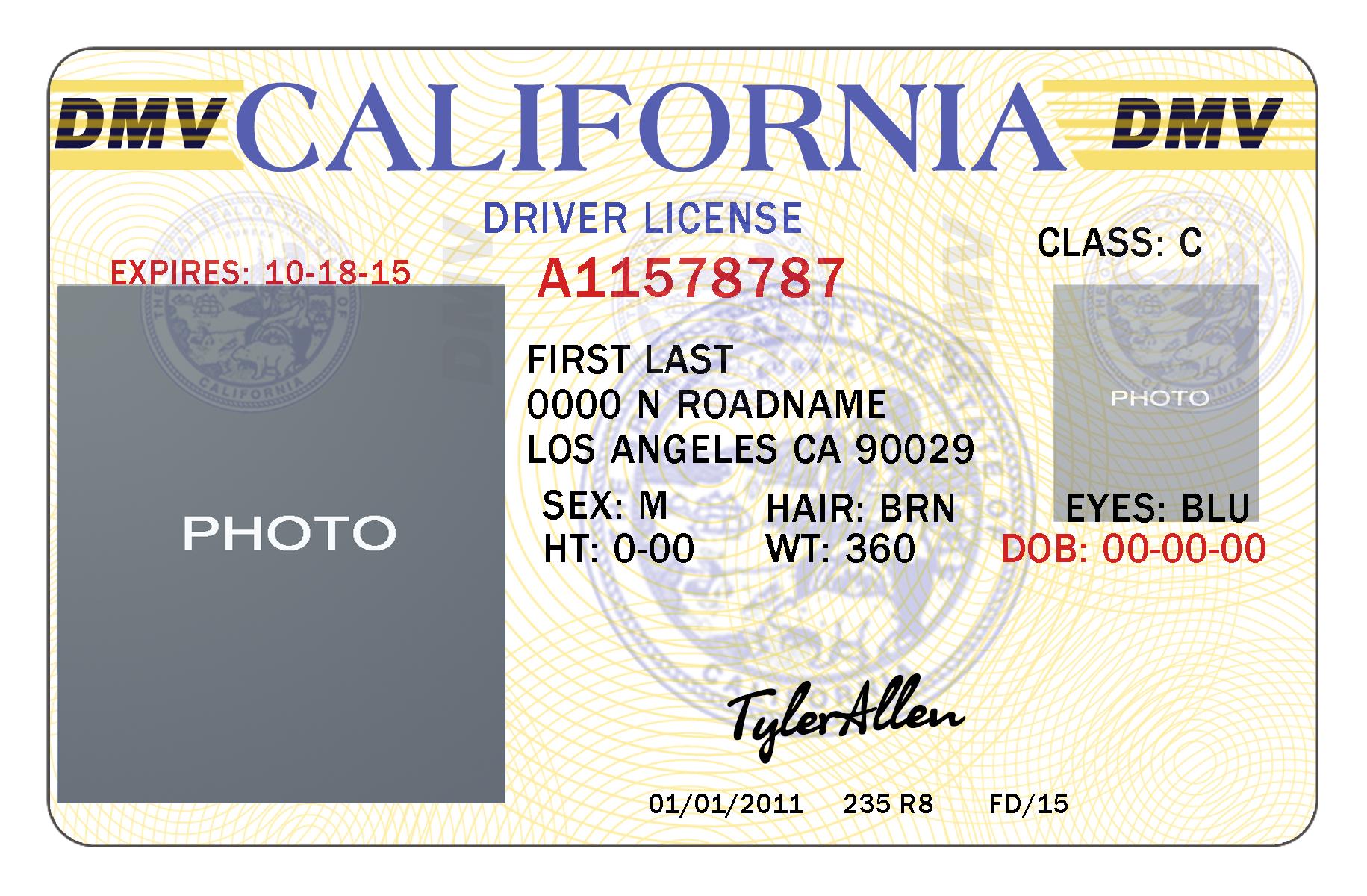 California Drivers License Template   California   Drivers License - Free Printable Fake Drivers License