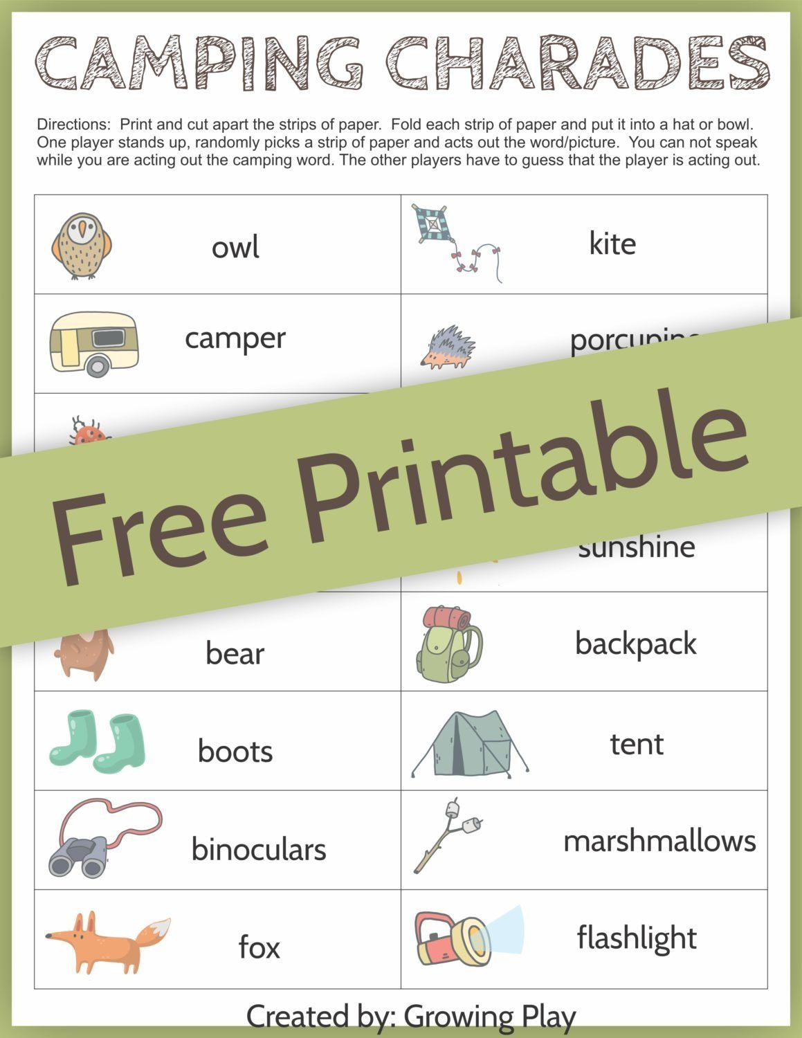 Camping Charades Game For Kids - Free Printable | Camping | Free - Free Printable Camping Games