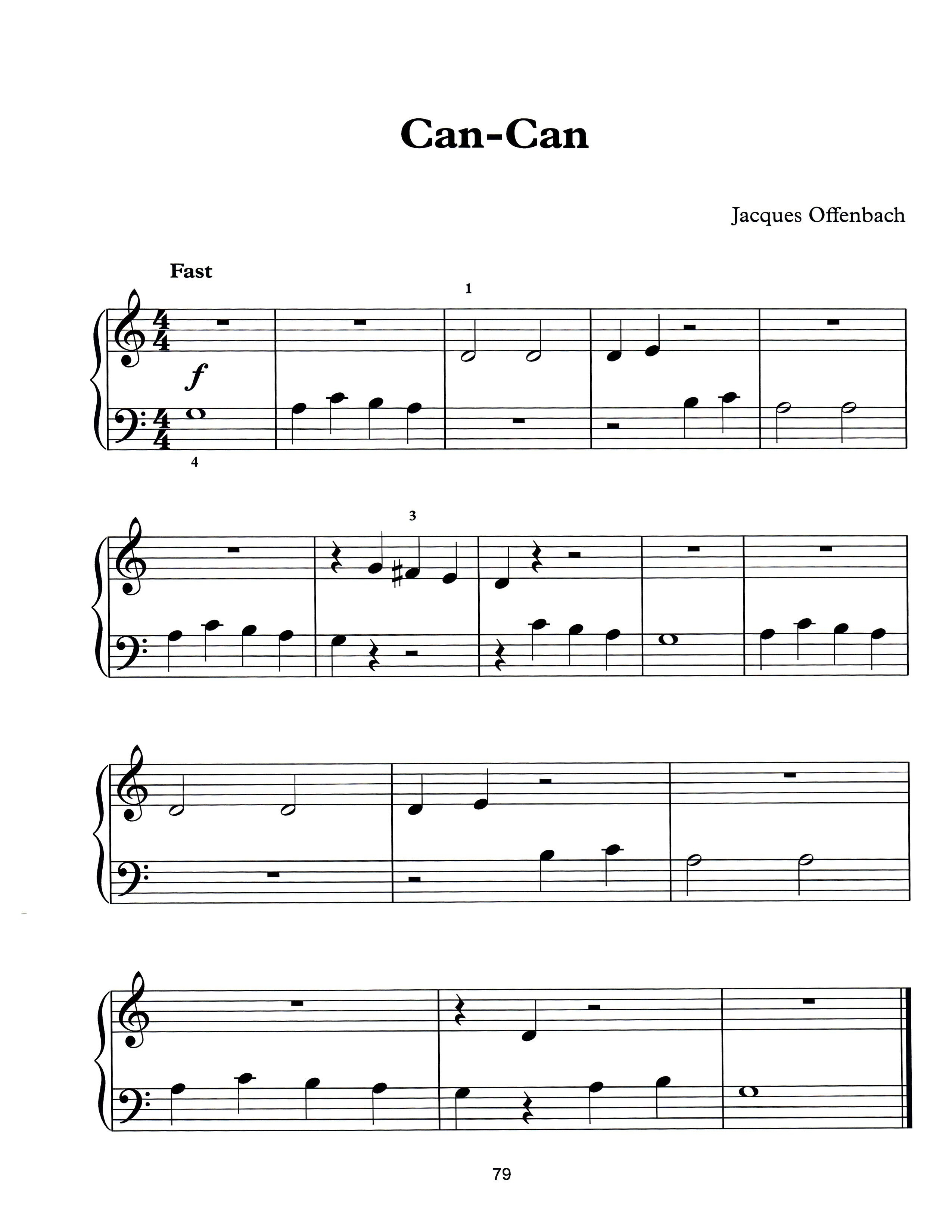 Can-Canjaques Offenbach. Free Easy Piano Sheet Music To Print - Free Printable Piano Pieces