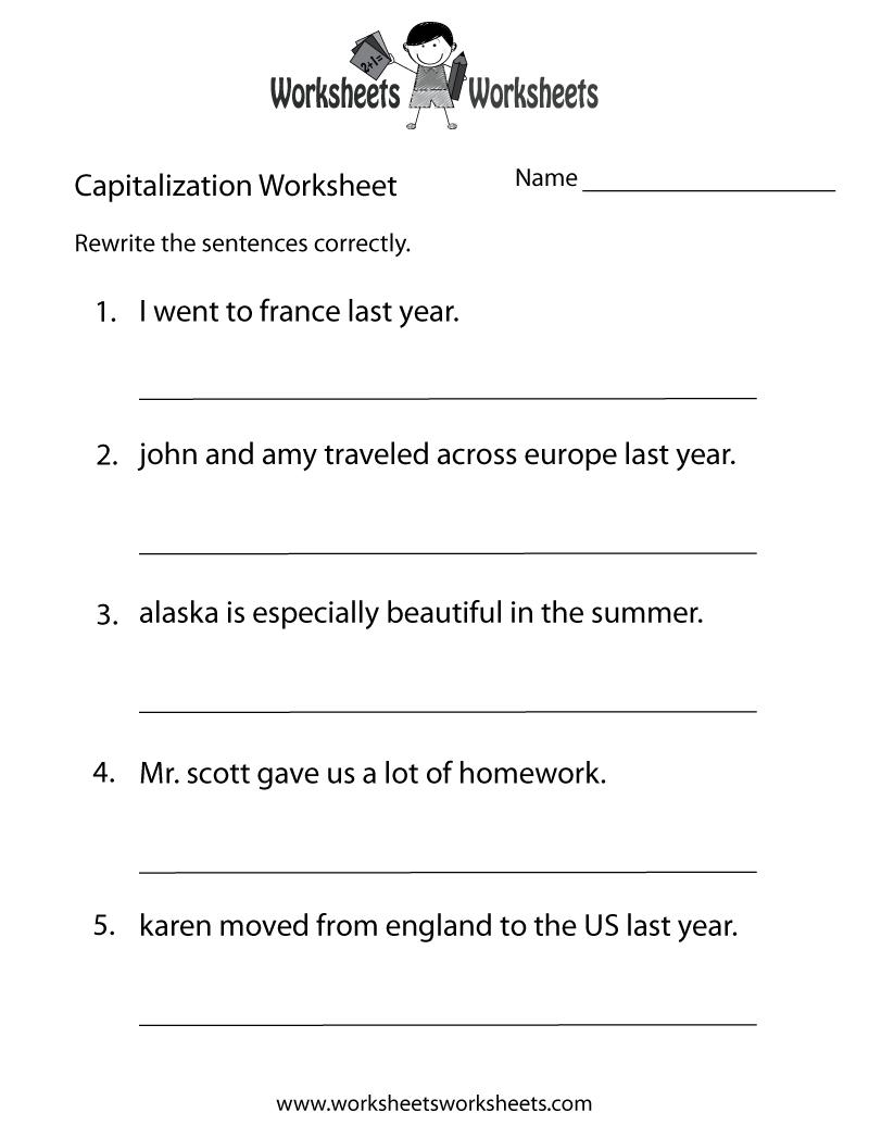 Capitalization Worksheets | Capitalization Practice Worksheet - Free - Free Printable Grammar Worksheets