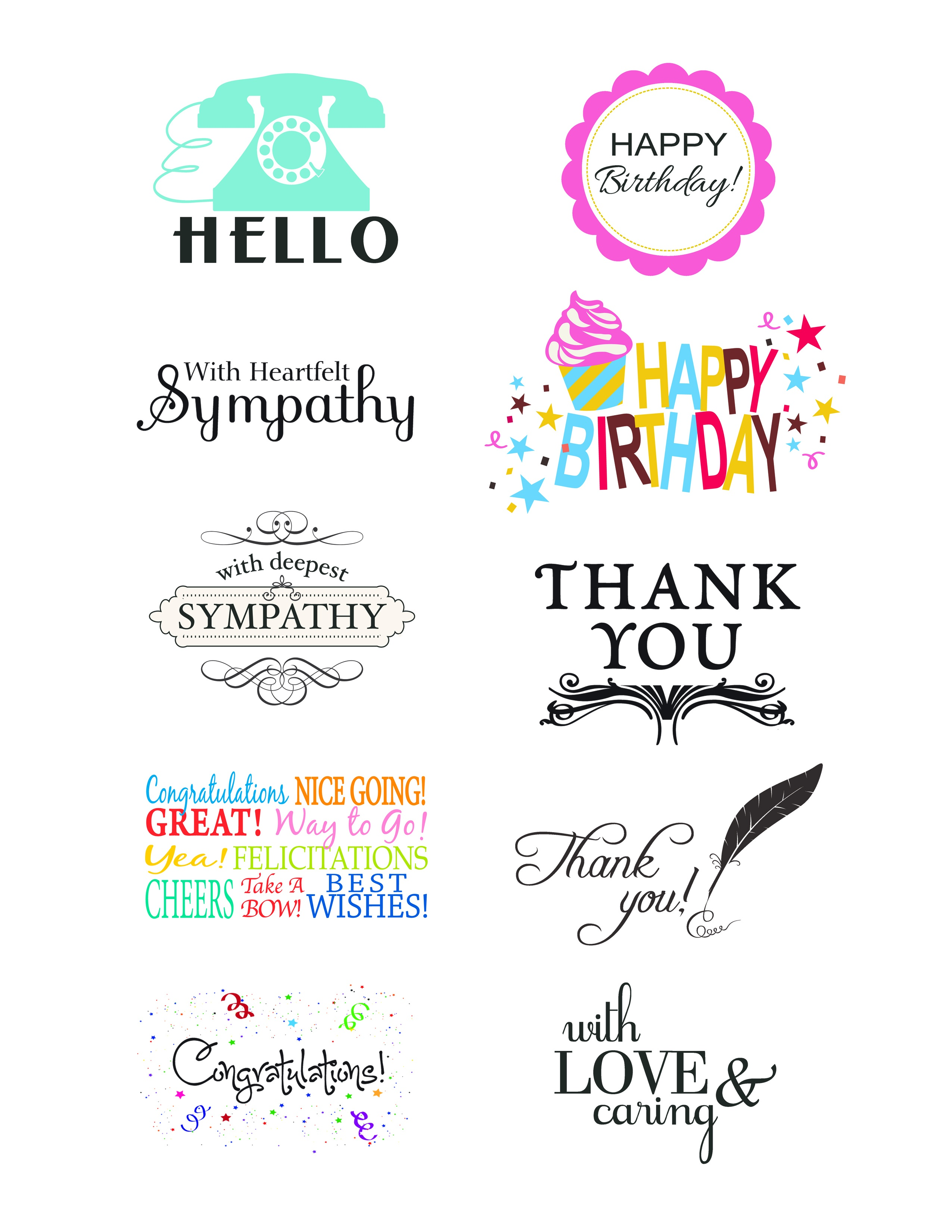 Card Creations, Vol. 11 Sentiments | Card Creations, Vol. 11 | Paper - Free Printable Greeting Card Sentiments