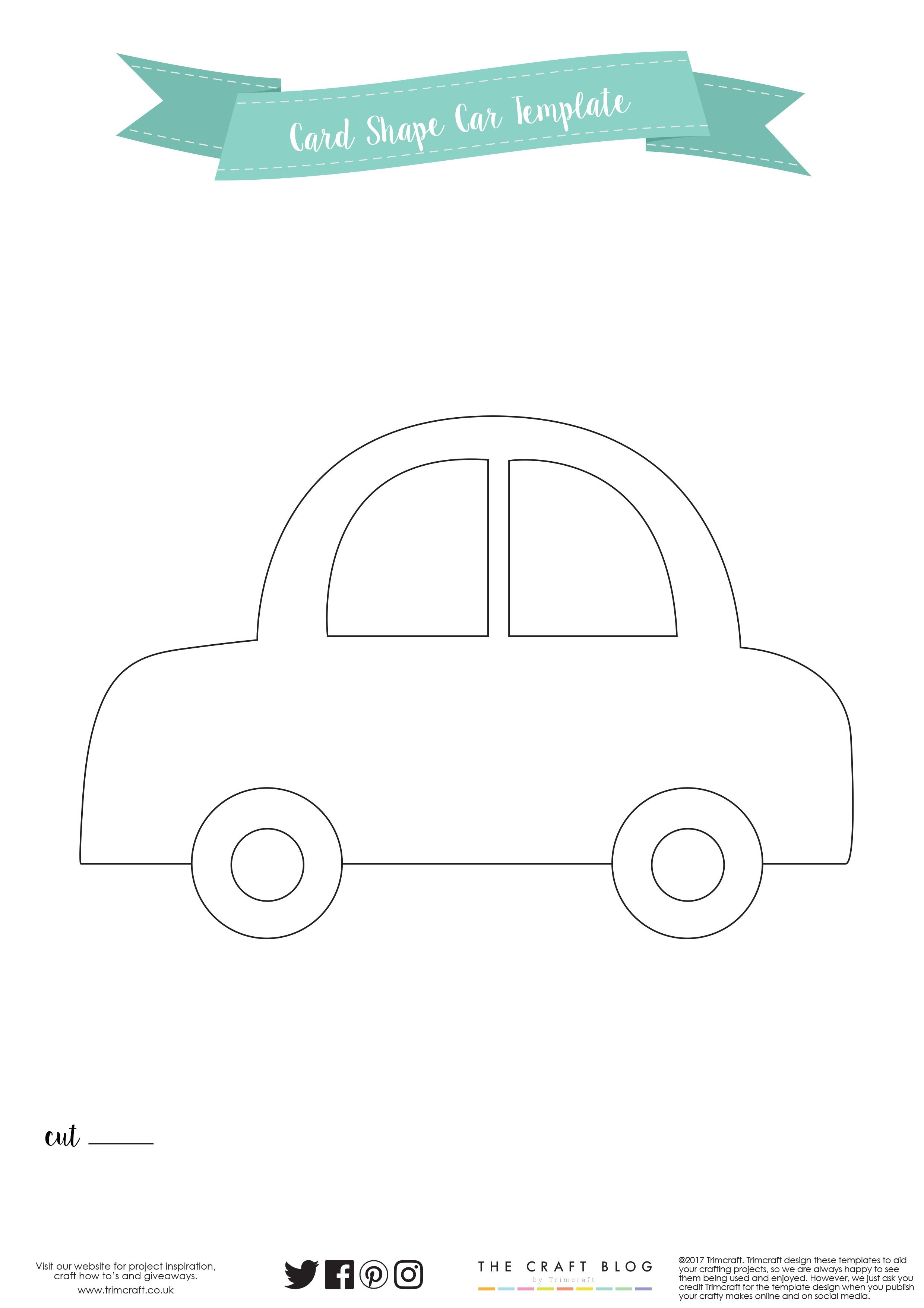 Card Shape Of The Month- Car Card Making Tutorial With Free - Free Printable Car Template