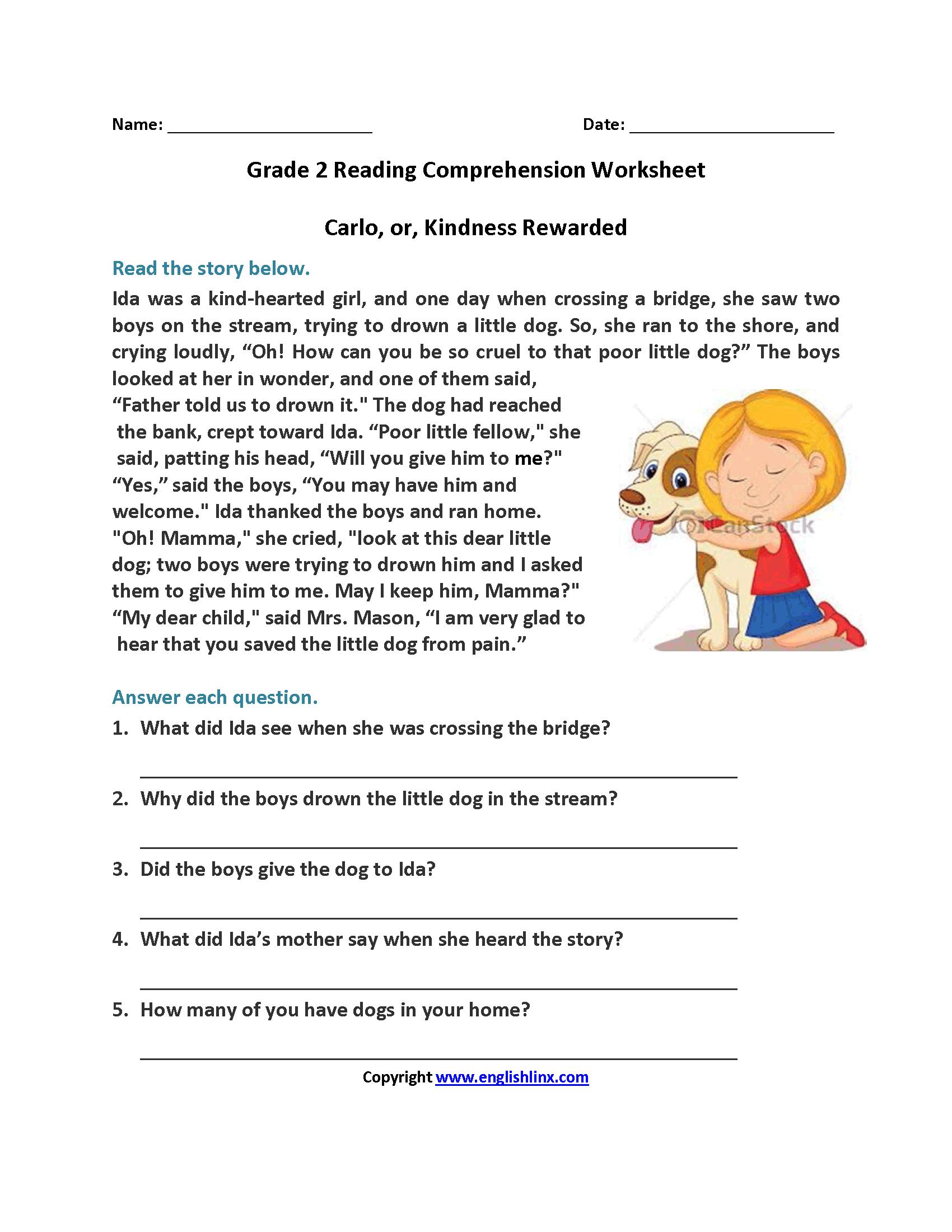 Carlo Or Kindness Rewarded Second Grade Reading Worksheets   Reading - Free Printable Hindi Comprehension Worksheets For Grade 3