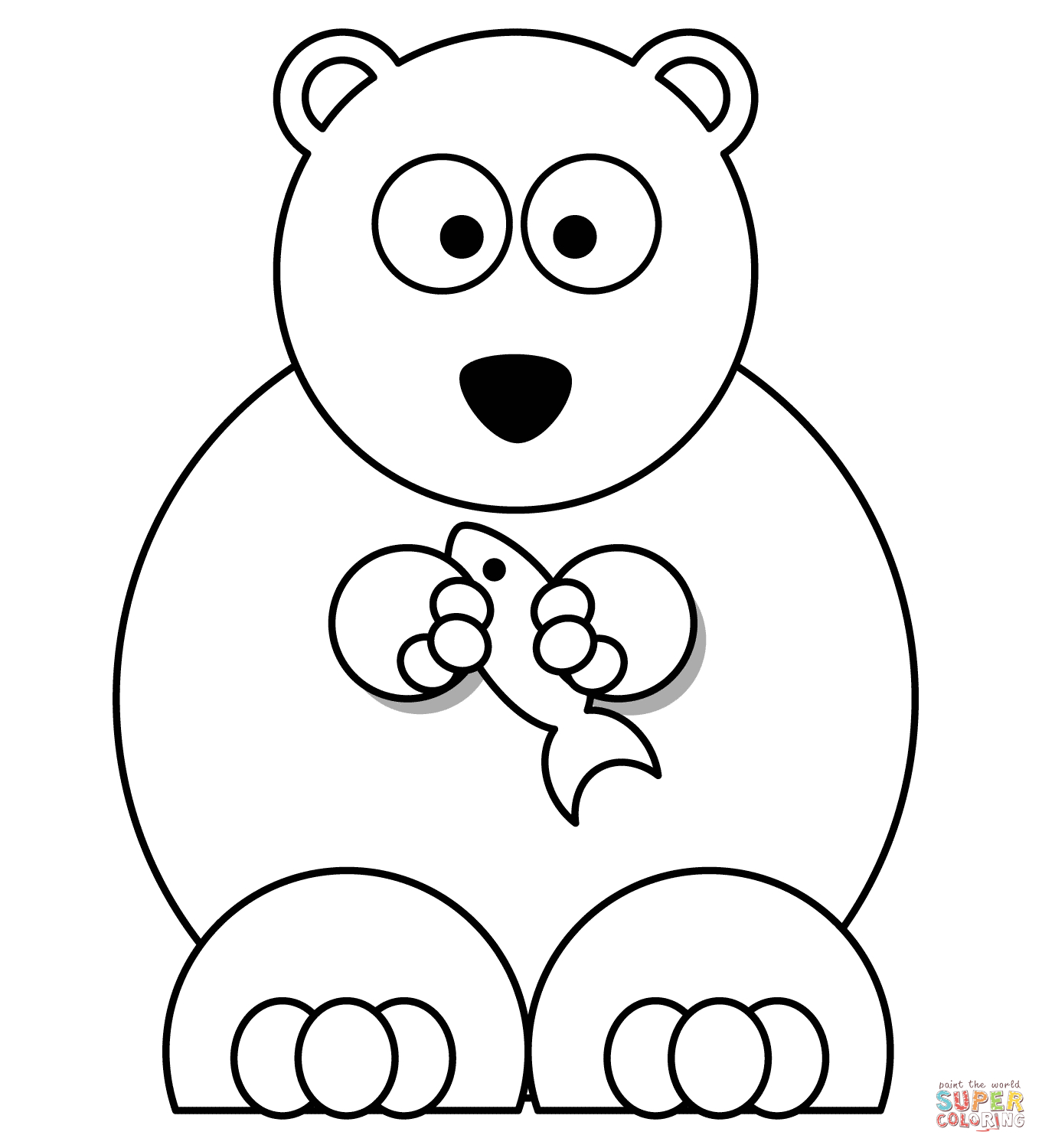 Cartoon Polar Bear With Fish Coloring Page | Free Printable Coloring - Polar Bear Printable Pictures Free