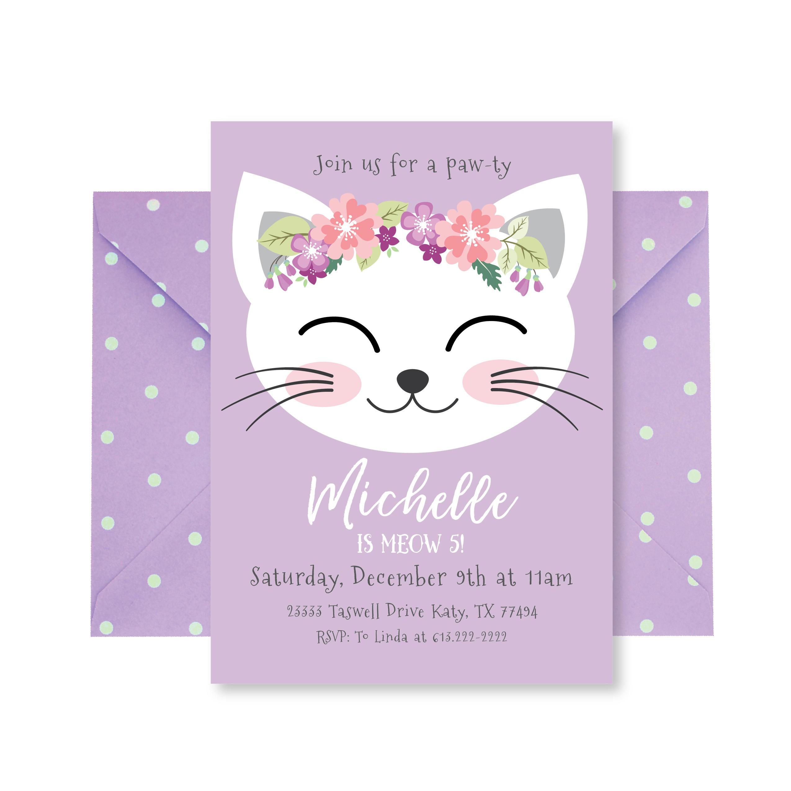 Cat Birthday Party Invitation Kitten Invitation Cat | Etsy - Free Printable Kitten Birthday Invitations