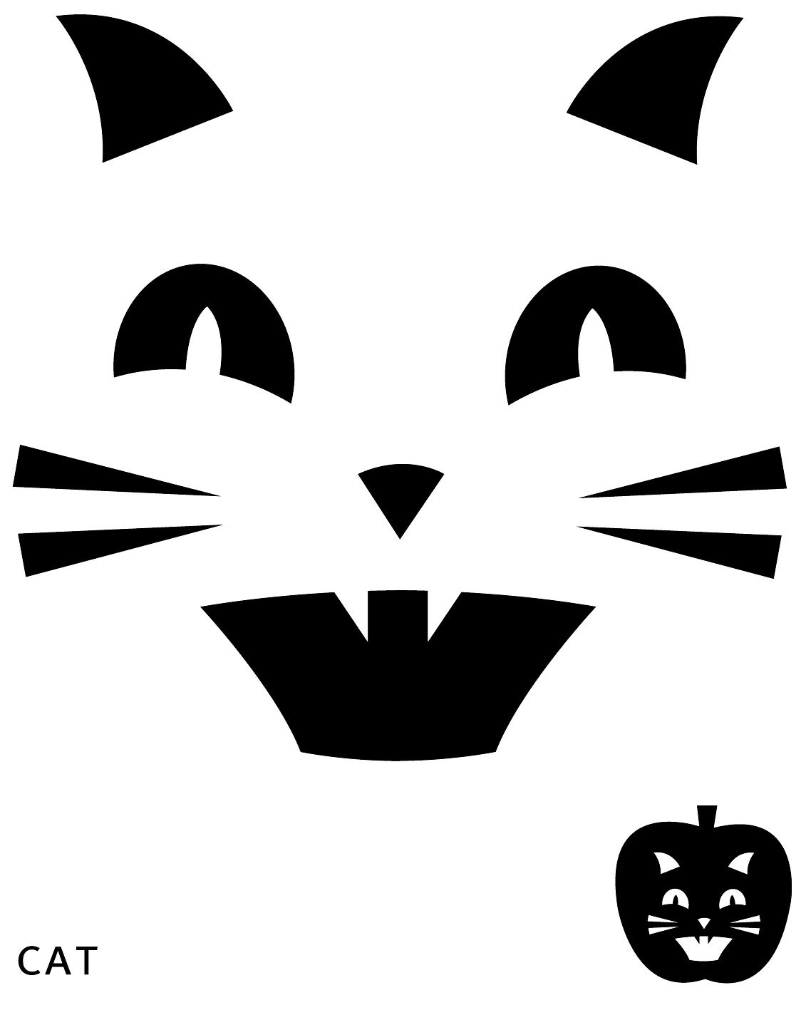 Cat Pumpkin Carving Template | Halloween | Pumpkin Carving Patterns - Free Pumpkin Printable Carving Patterns