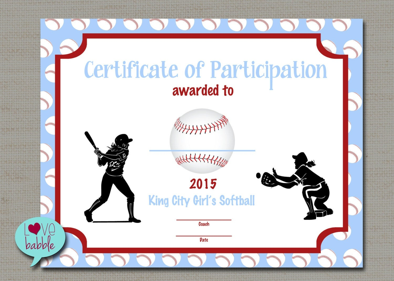 Certificate Templates: Sports Certificate Template Certificate Templates - Free Printable Softball Certificates