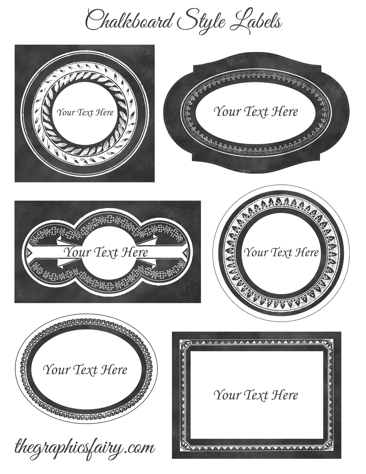 Chalkboard Style Printable Labels - Editable! - The Graphics Fairy - Free Customizable Printable Labels