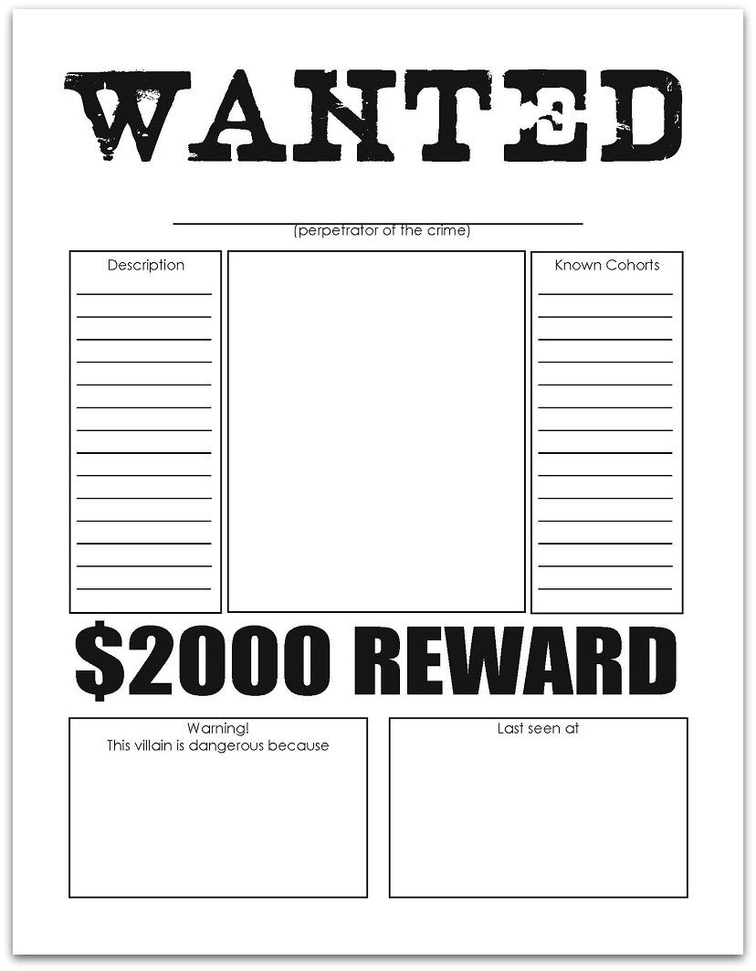 Character Wanted Posters | Free Printables | Resume Template Free - Literacy Posters Free Printable