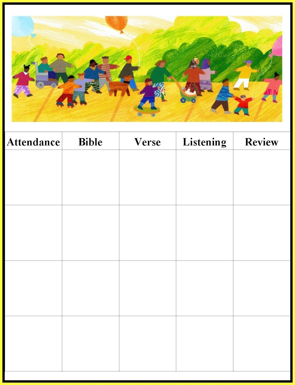 Childrens Gems In My Treasure Box: Sunday School - Attendance Charts - Free Printable Sunday School Attendance Sheet
