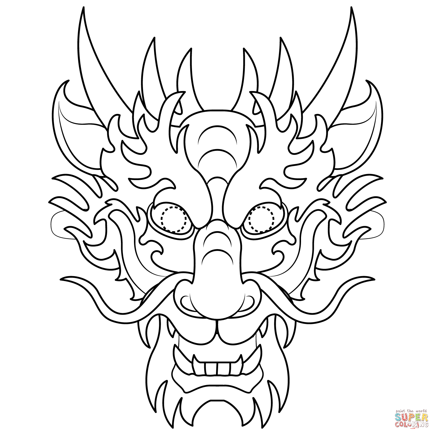 Chinese Dragon Mask Coloring Page | Free Printable Coloring Pages - Dragon Mask Printable Free