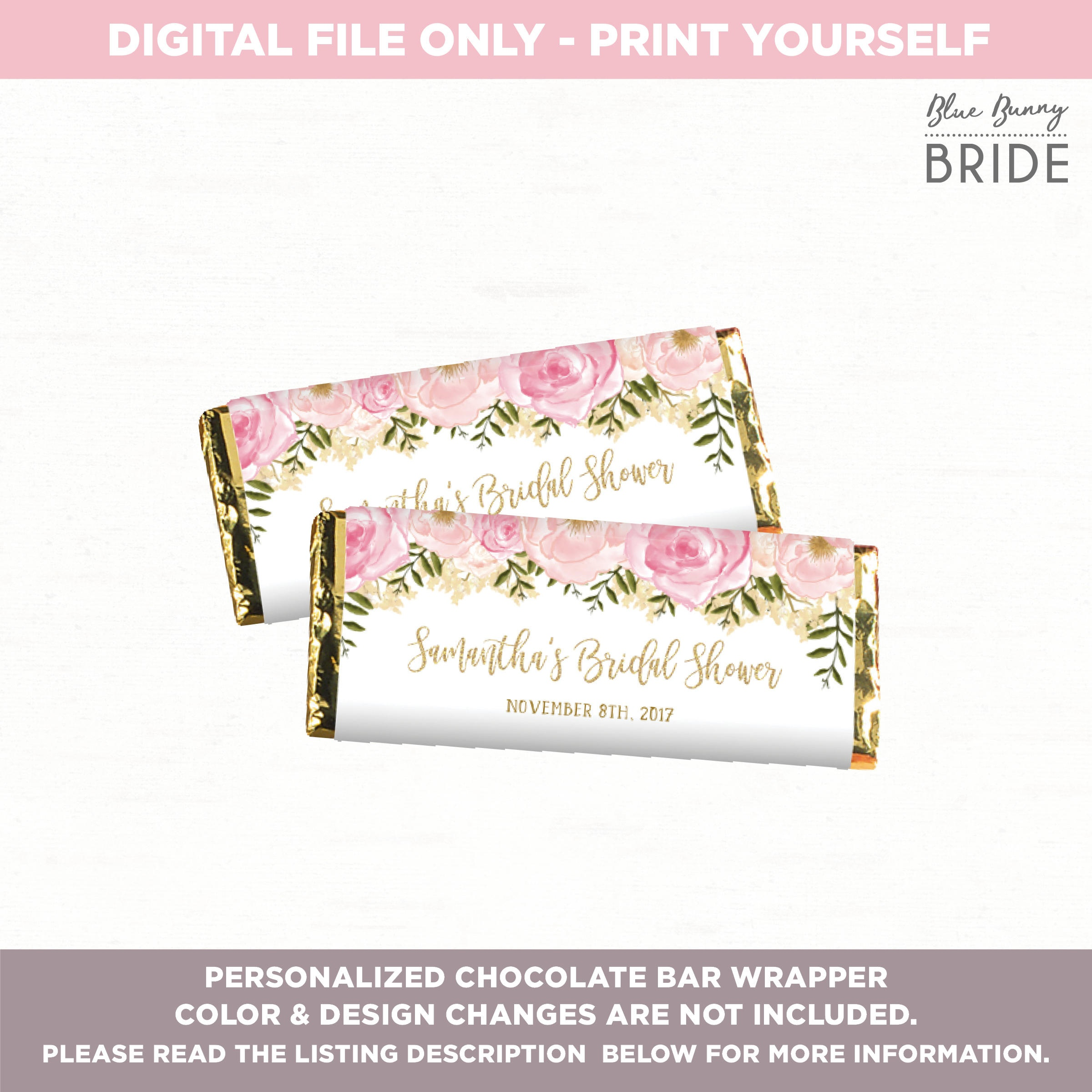 Chocolate Bar Wrapper. Candy Bar Wrapper. Pink And Gold Floral | Etsy - Free Printable Candy Bar Wrappers For Bridal Shower