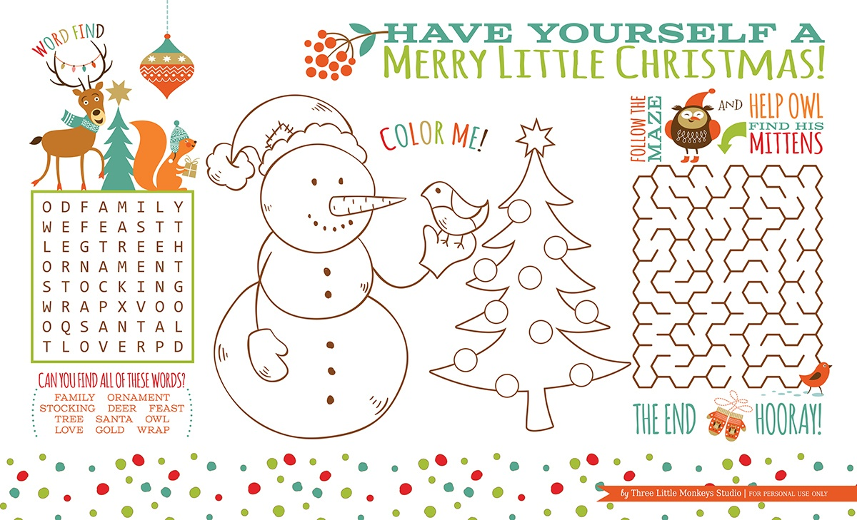 Christmas Activity Placemat (Free Printable} - Three Little Monkeys - Free Printable Christmas Placemats For Adults