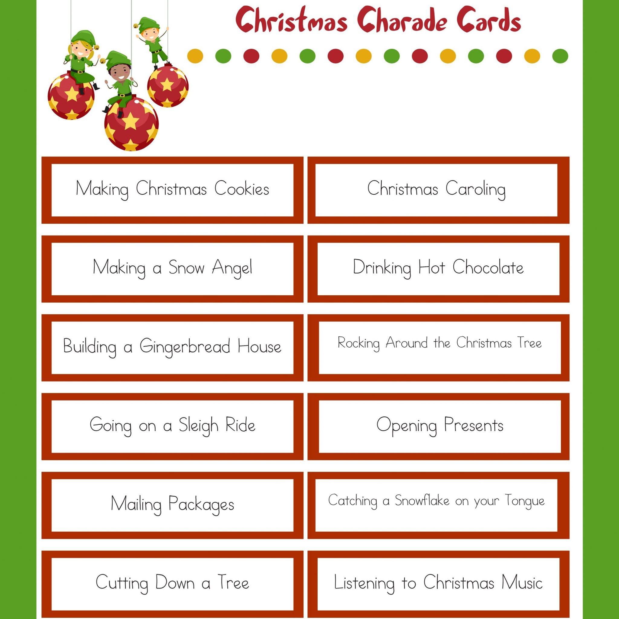 Christmas Charades - Family Christmas Party Game - Free Printable Christmas Charades Cards