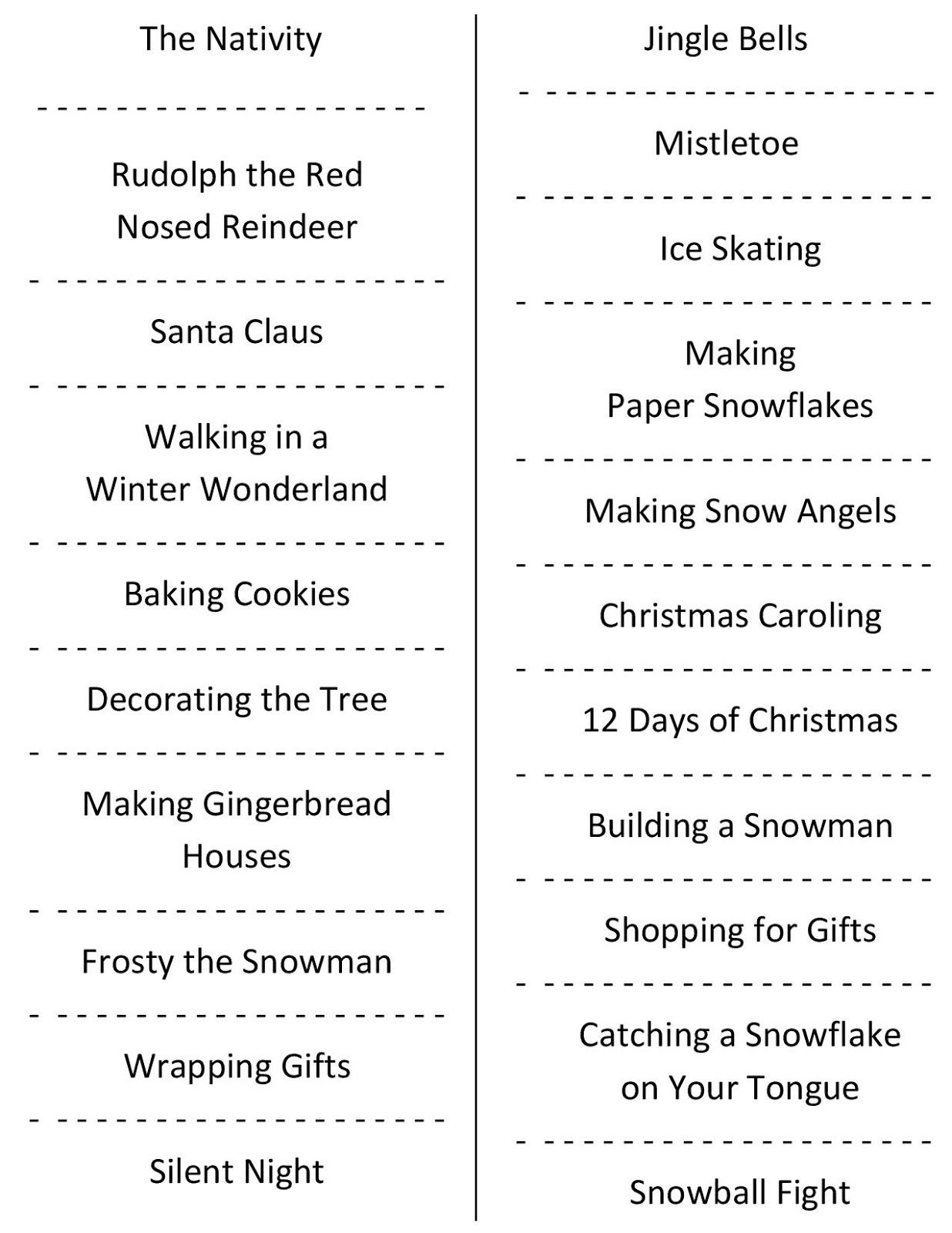Christmas Charades (Free Printable Party Game) | Christmas | Daily - Free Printable Christmas Charades Cards