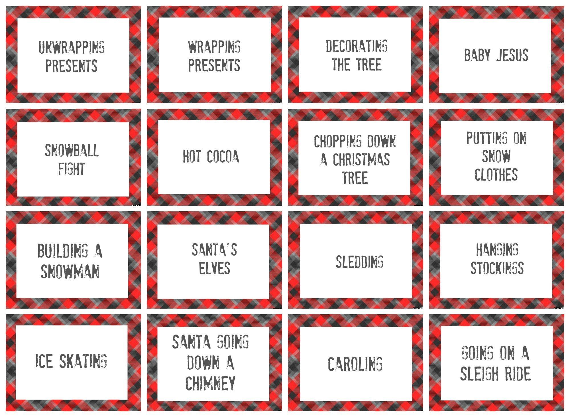 Christmas Charades Game And Free Printable Roundup! | Holidays - Free Printable Christmas Pictionary Words