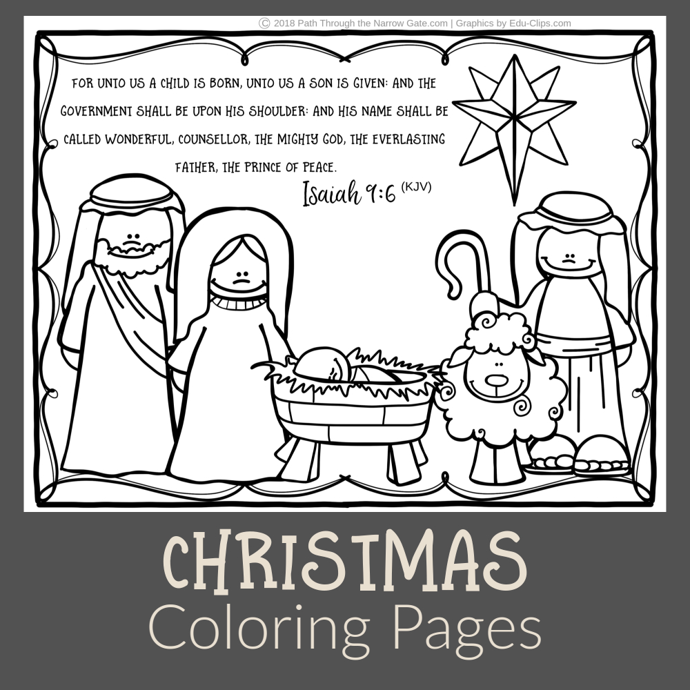 Christmas Coloring Pictures - Path Through The Narrow Gate - Free Printable Bible Christmas Coloring Pages