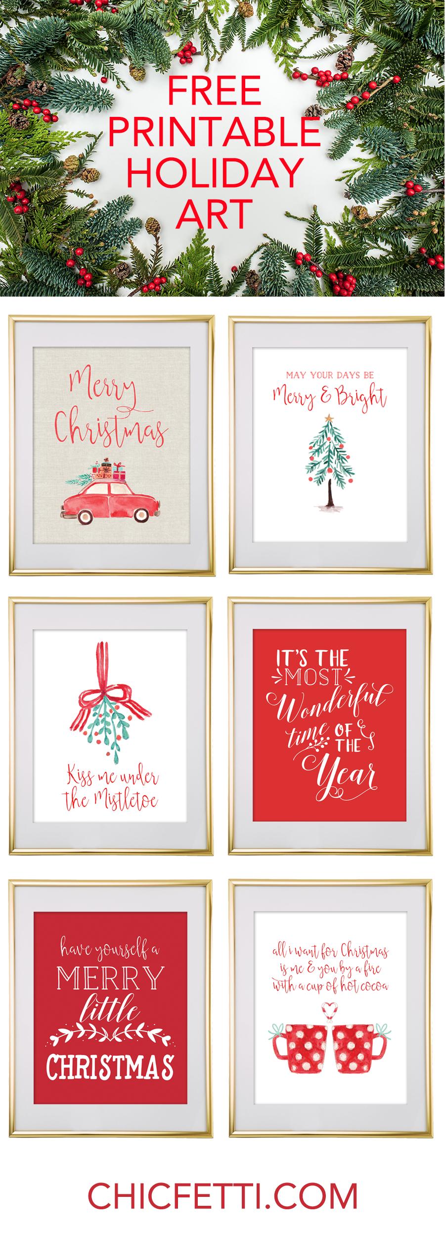 Christmas Free Printable Wall Art - Download Free Christmas Art - Free Printable Christmas Decorations