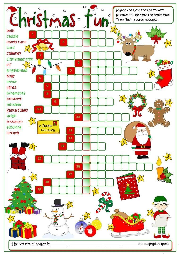 Christmas Fun - Crossword Worksheet - Free Esl Printable Worksheets - Free Printable Christmas Puzzle Sheets