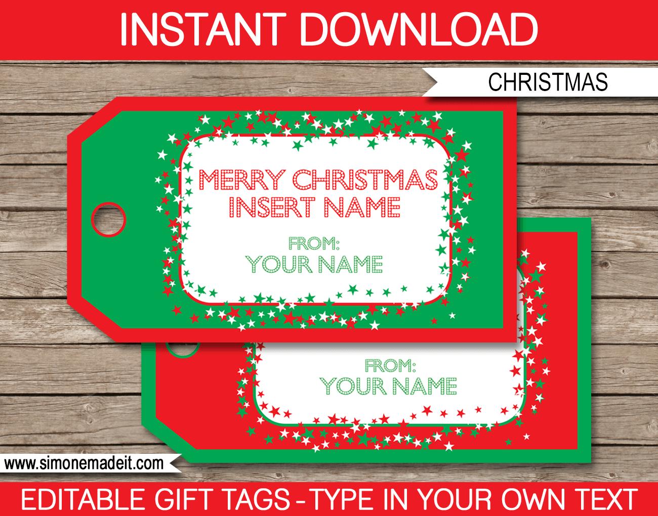 Christmas Gift Tag Template | Printable Christmas Gift Tags - Free Printable Editable Christmas Gift Tags