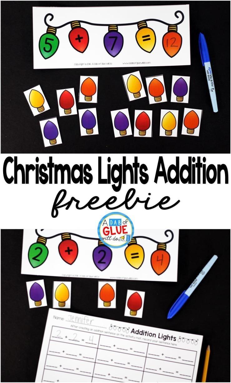 Christmas Lights Addition Printable Math Worksheets | For The - Free Printable Math Centers