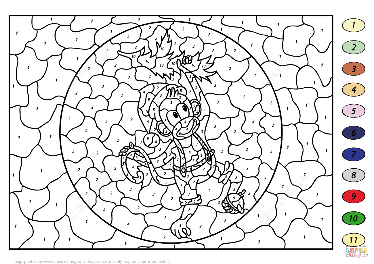 Christmas Monkey Colornumber | Free Printable Coloring Pages - Free Printable Christmas Color By Number Coloring Pages