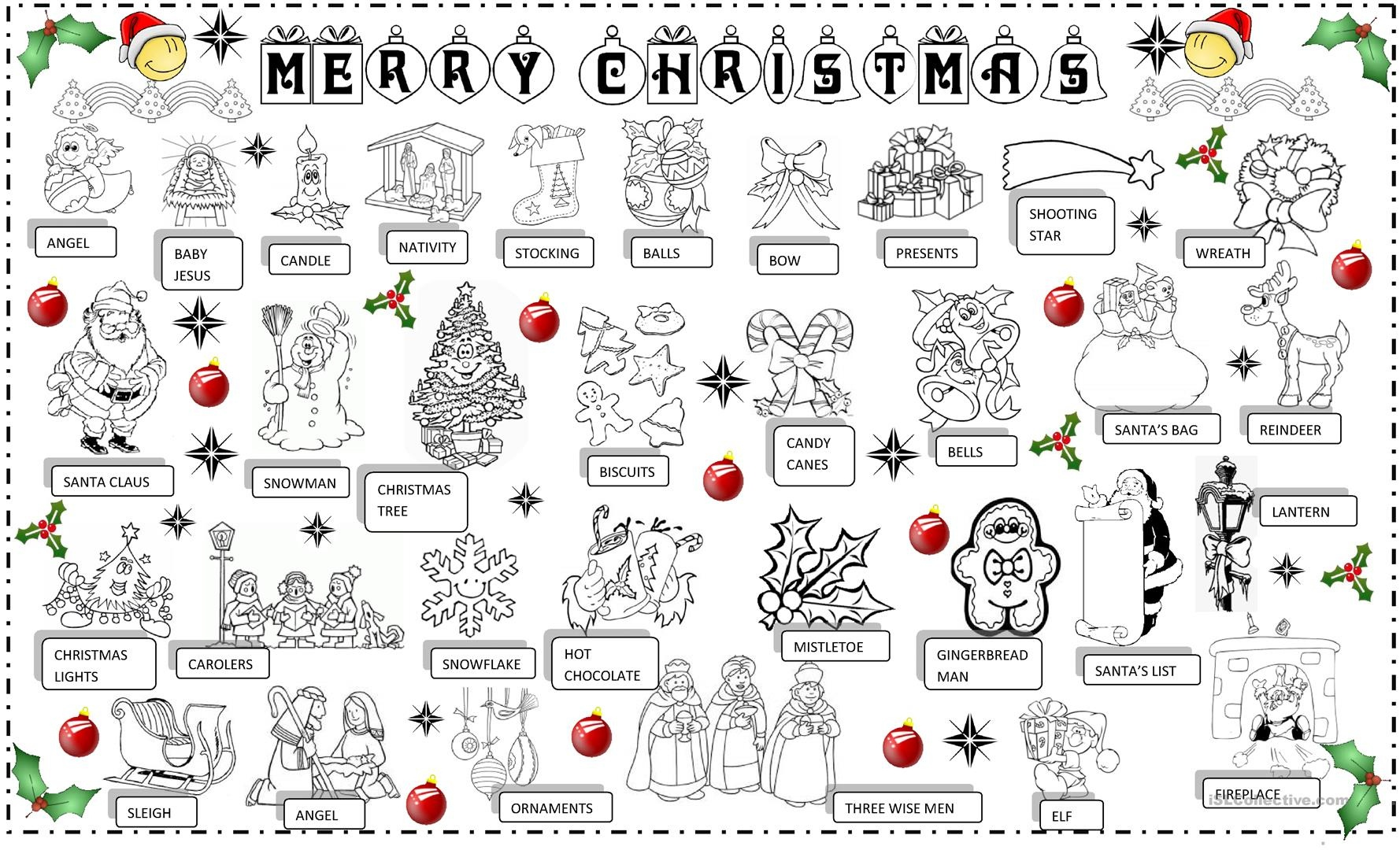 Christmas Pictionary Worksheet - Free Esl Printable Worksheets Made - Free Printable Christmas Pictionary Cards