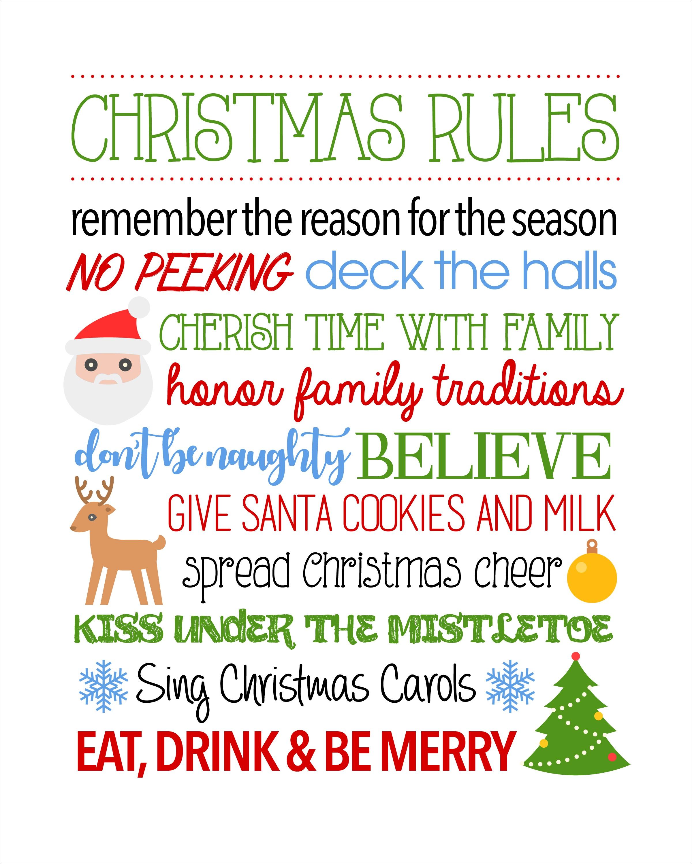 Christmas Rules Free Printable - Christmas Rules Sign - Free Printable Christmas Pictures