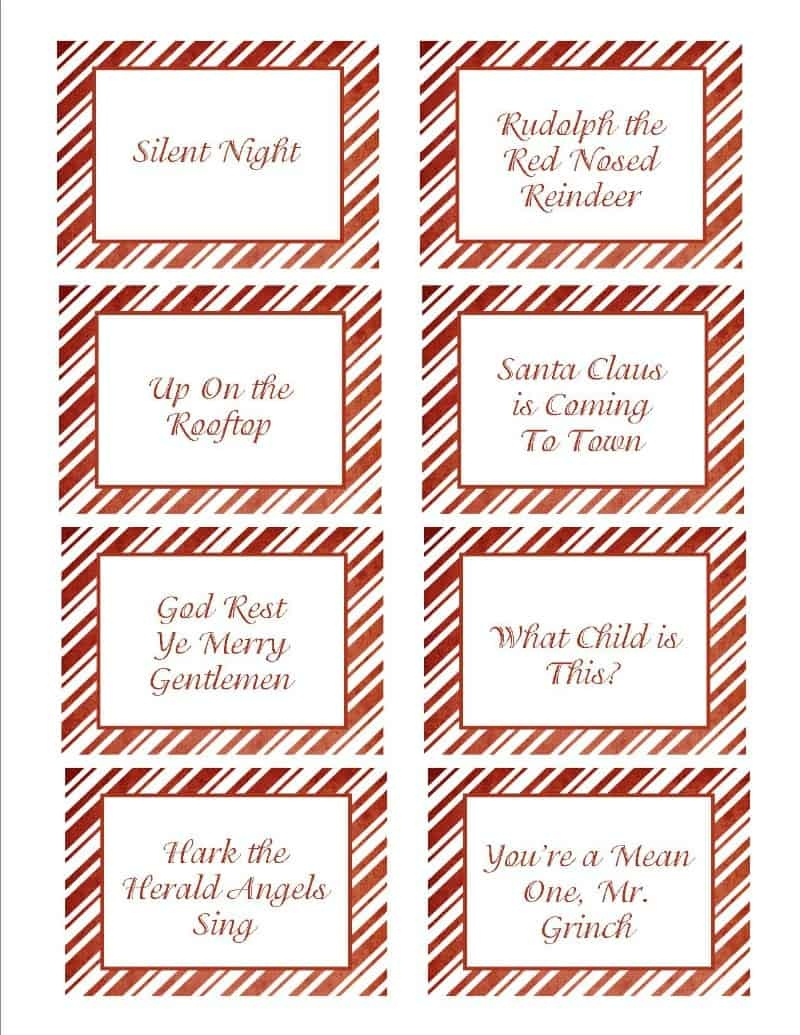 Christmas Songs Pictionary- Free Christmas Game - Free Printable Pictionary Cards