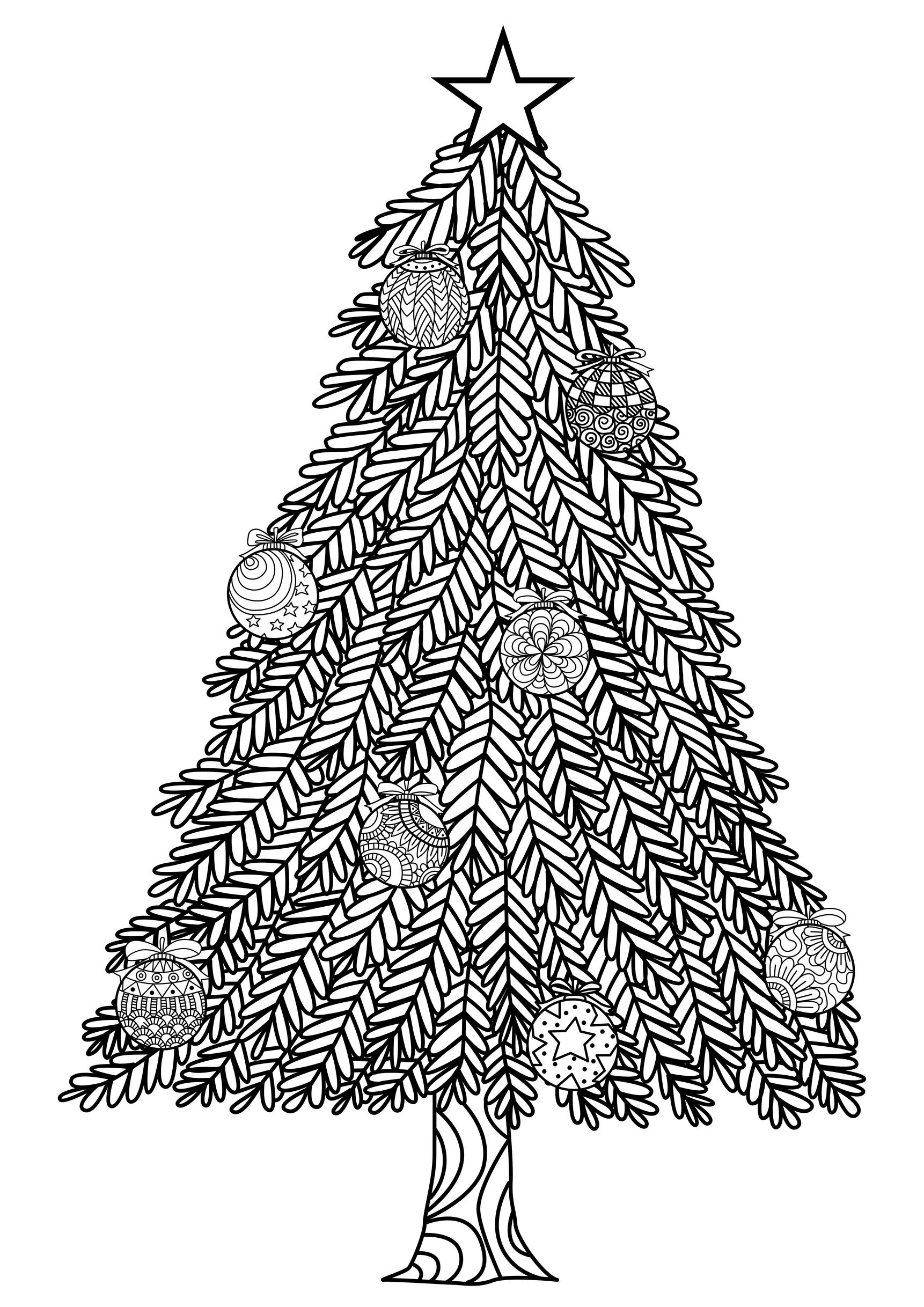 Christmas Tree With Ball Ornaments - Christmas Adult Coloring Pages - Free Printable Christmas Tree Ornaments To Color