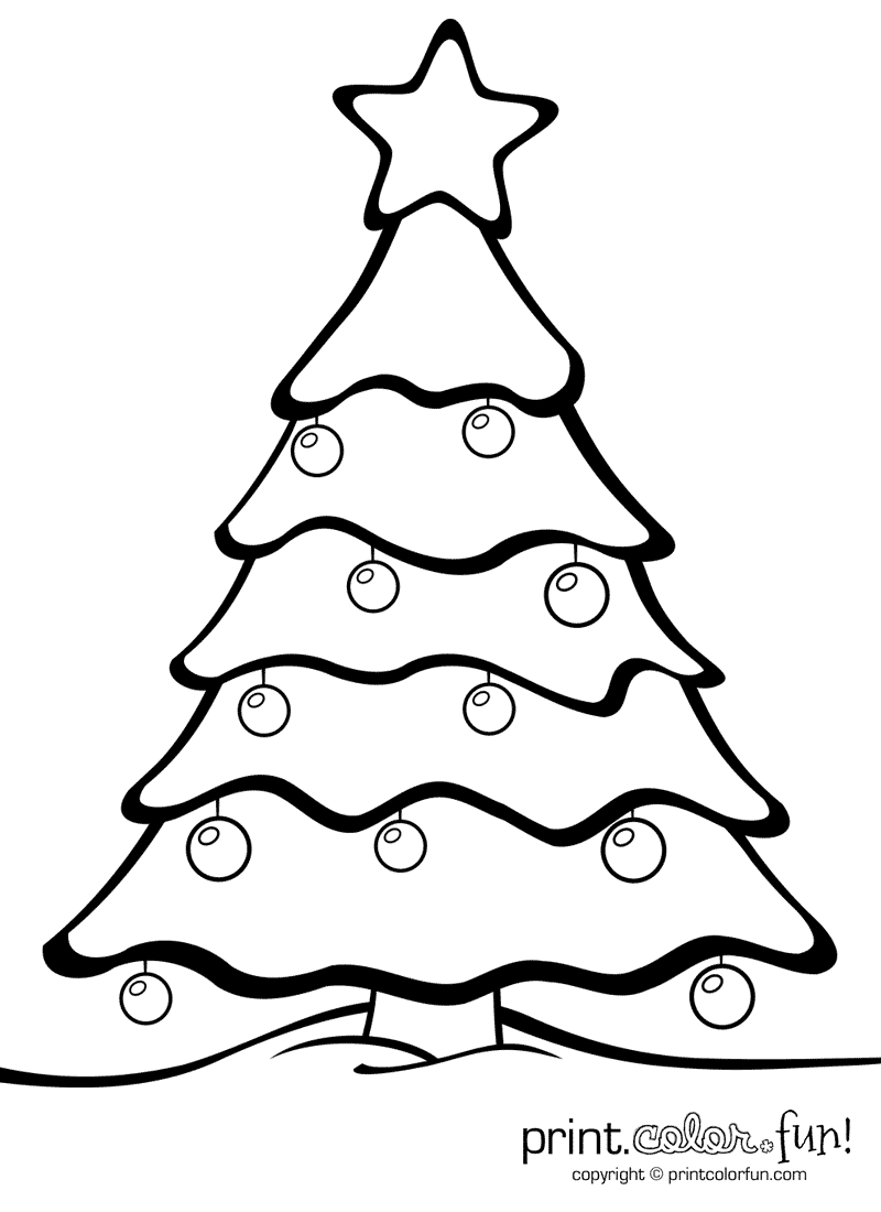 Christmas Tree With Ornaments   Print. Color. Fun! Free Printables - Free Printable Christmas Tree Ornaments Coloring Pages